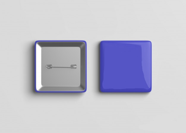 Vierkante speld button